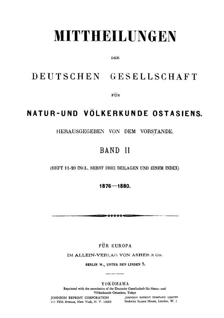 OAG Mitteilungen 1876-1880 Titel