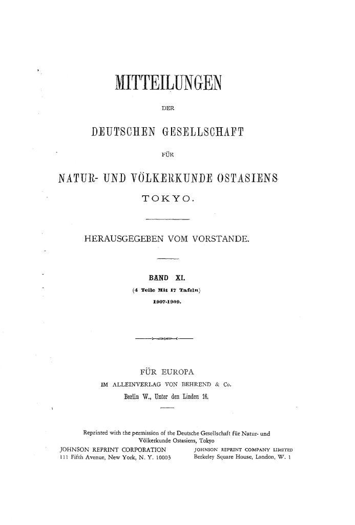 OAG Mitteilungen 1907-1909 Titel