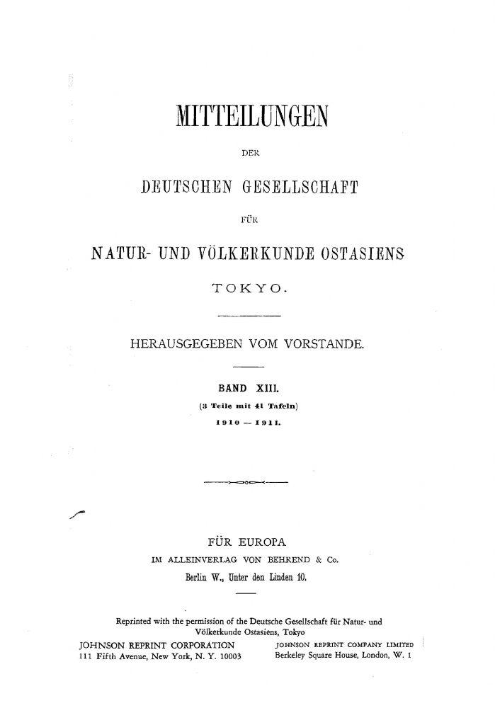 OAG Mitteilungen 1910-1911 Titel