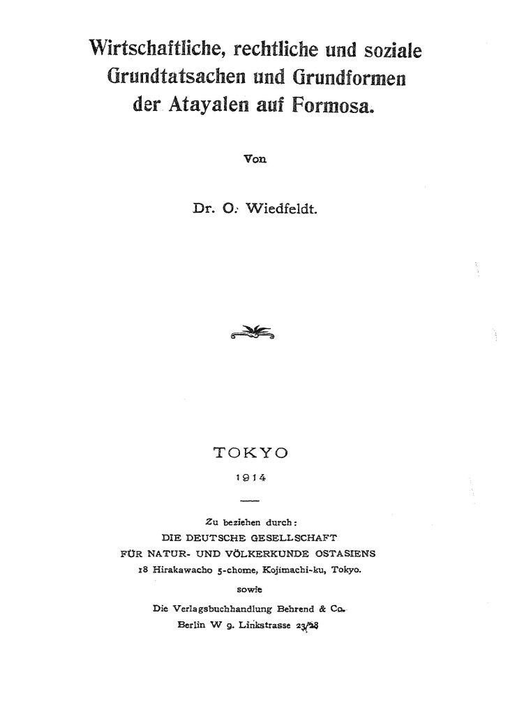 OAG Mitteilungen 1911-1913 Theil c Titel