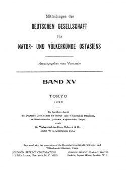 Band XV (1914-1922), Berichte und Anhänge