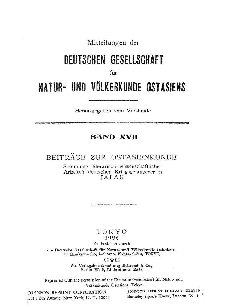 OAG Mitteilungen Bd 17 1914-1922 Titel