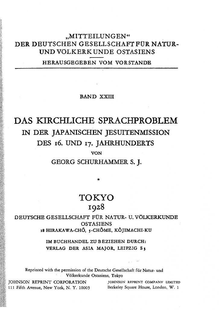 OAG Mitteilungen 1928 Titel