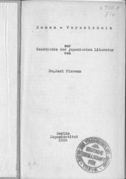 Namen-Verzeichnis zur Geschichte der japanischen Literatur von Dr. Karl Florenz