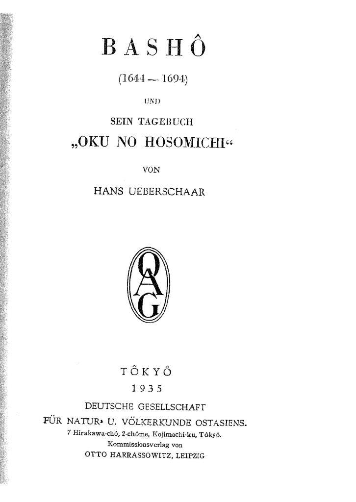 OAG Mitteilungen Teil A 1935-1937 Titel