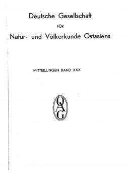 Band XXX (1937-1938) Inhaltsverzeichnis