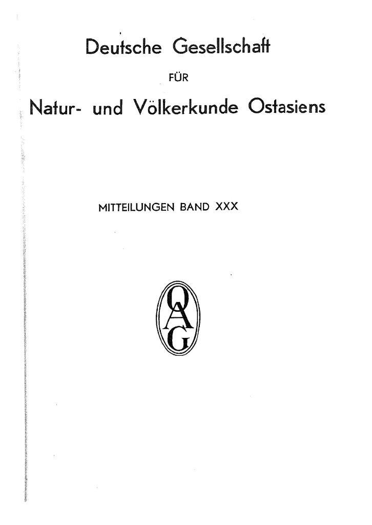 OAG Mitteilungen 1937-1938 Titel