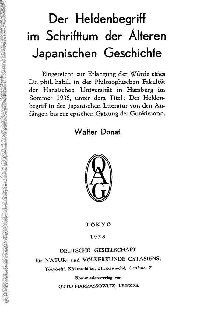 OAG Mitteilungen Teil A 1938-1939 Titel