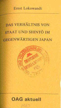 Das Verhältnis von Staat und Shinto im gegenwärtigen Japan