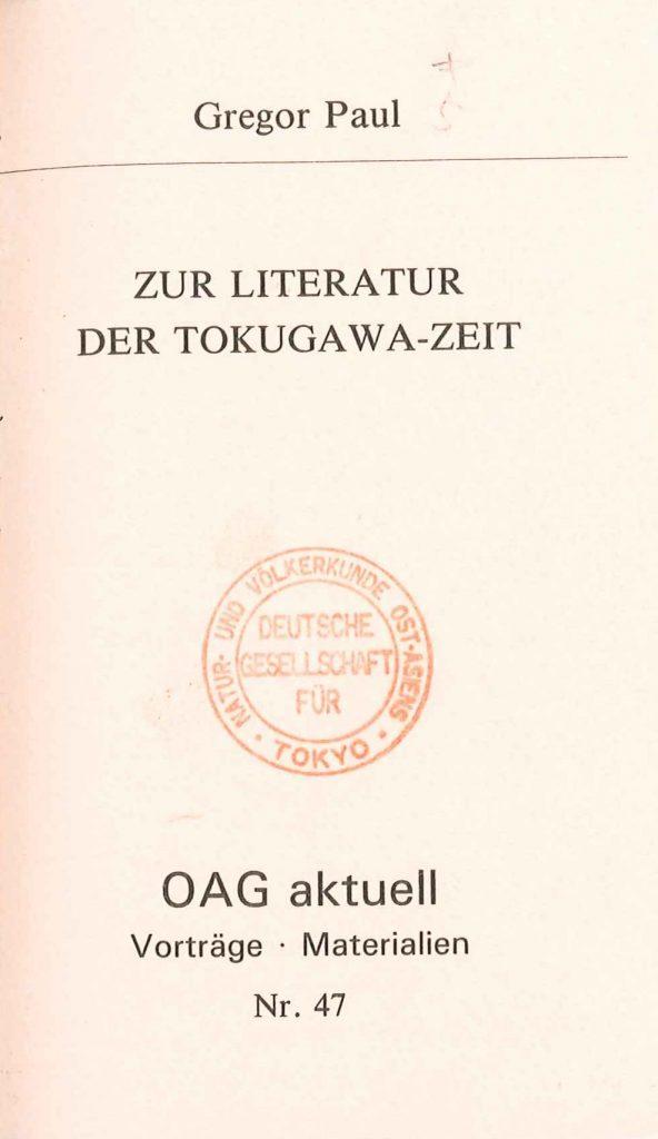 Zur Literatur der Tokugawa-Zeit