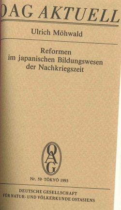 Reformen im japanischen Bildungswesen der Nachkriegszeit
