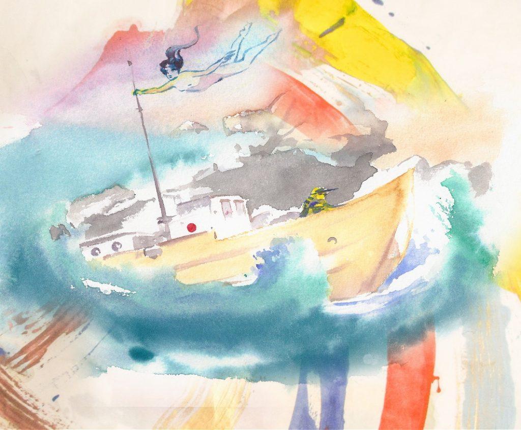 """Ausstellung von Joe Brockerhoff: """"Rote Sonne ‒ Morgenröte? Aquarelle, Seidenmalerei, Zeichnungen.Aufarbeitung von 25 Jahren Japanskizzen zum Thema Lebenskraft und Kultur"""""""