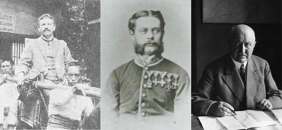 Von links nach rechts: Scriba, v. Siebold, Michaelis (Bilder aus verschiedenen Jahren)