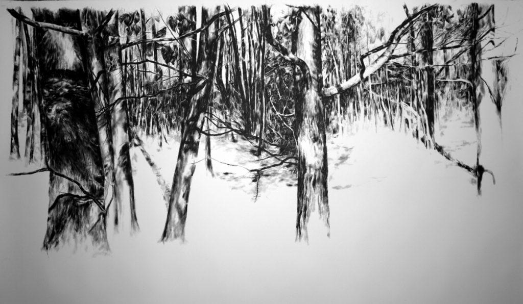 """Jens Rausch: """"Waldabschnitt V"""" (Detail), Öl auf Papier, 130 x 200 cm, 2016"""