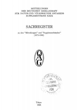 Sachregister (Bände 1873-1968)
