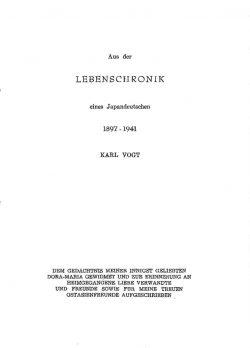 Aus der Lebenschronik eines Japandeutschen 1897-1941 Karl Vogt