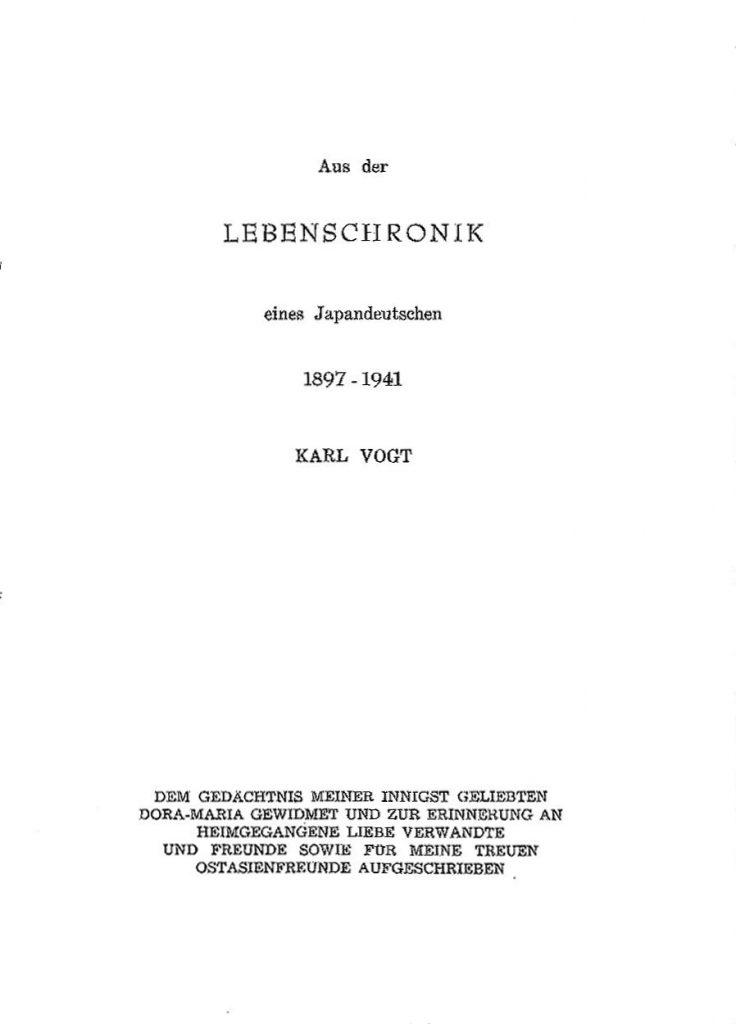 Karl Vogt Lebenschronik