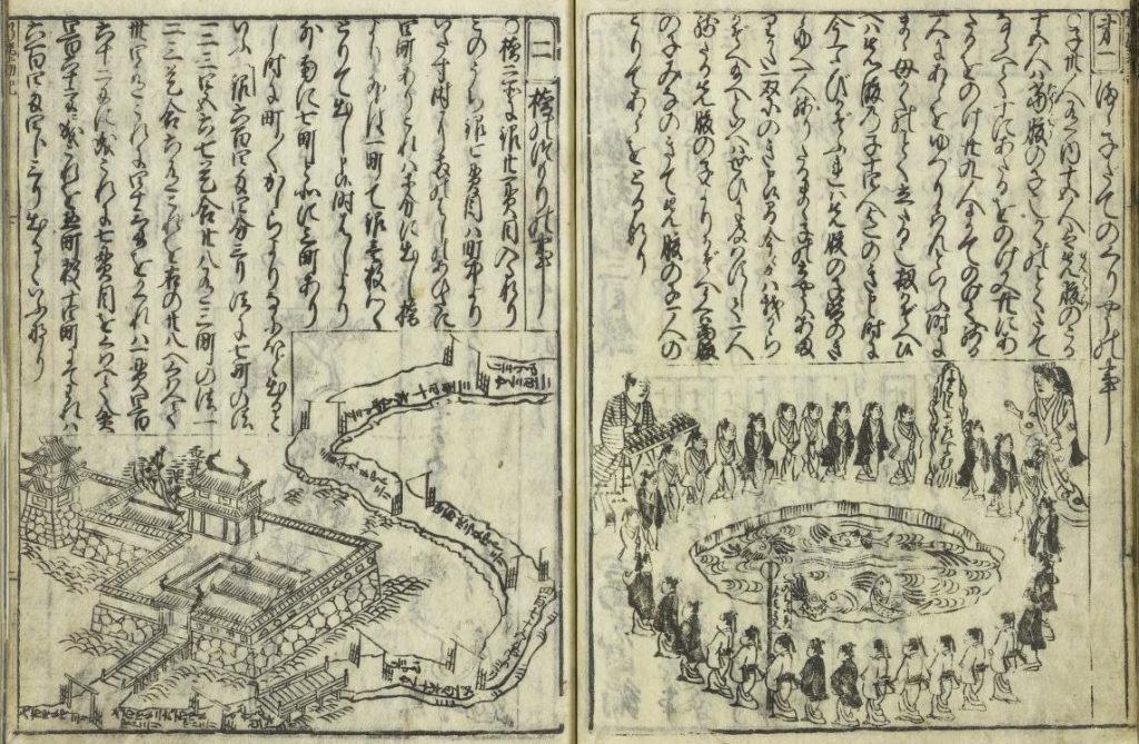 Abbildung: eine Seite aus dem Jinkōki von Yoshida Mitsuyoshi aus dem 17. Jahrhundert mit einer Darstellung der japanischen Version des Josephus-Problems (mamakodate) auf der rechten Seite.