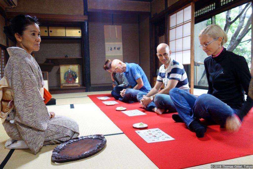 Tantoku Garden, Kawagoe - Besichtigung einer Werkstatt für Tatami-Herstellung (Tee-Zeremonie)