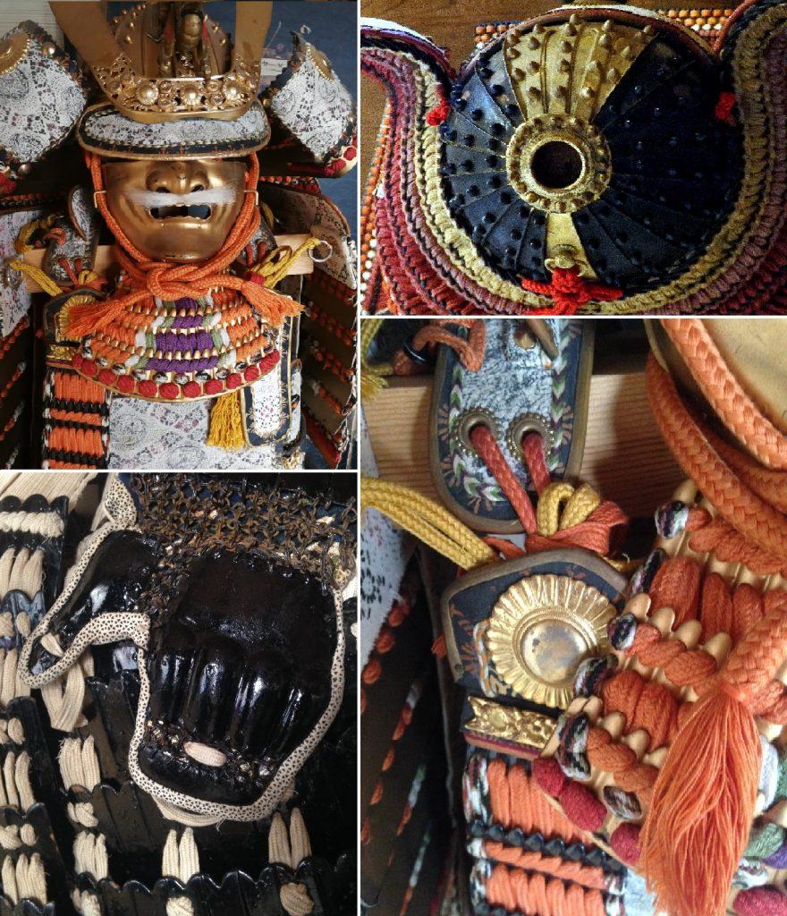 Verschiedene Aufnahmen von Samurairüstungen