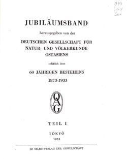 Jubiläumsband anlässlich des 60-jährigen Bestehens der OAG, Teil I