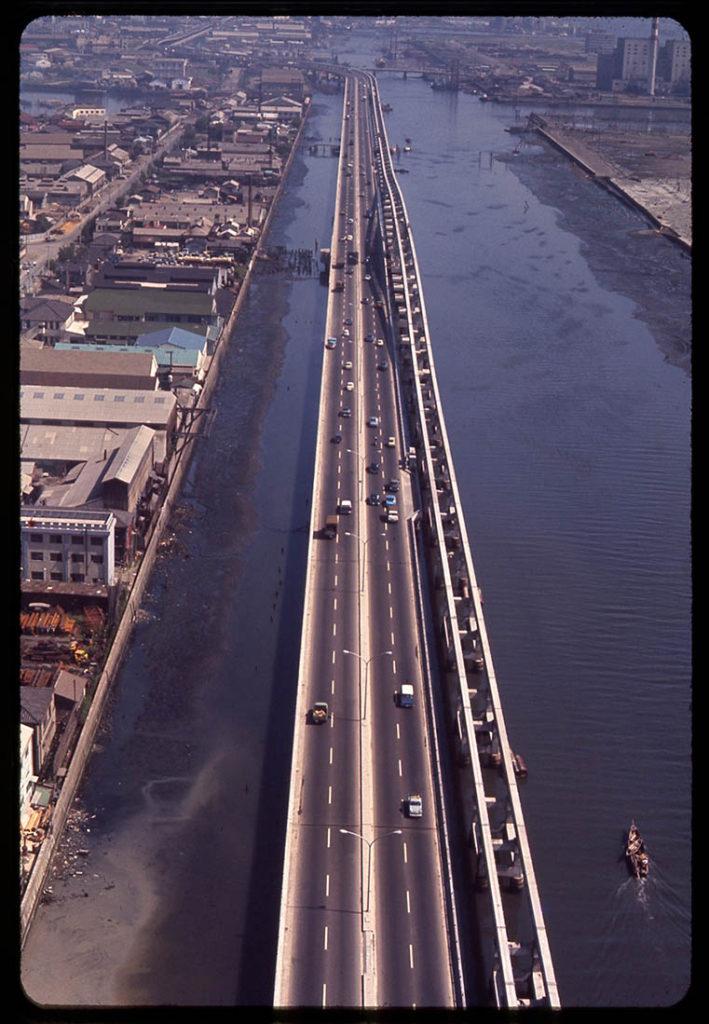 Luftaufnahme des Metropolitan Expressways von Haneda stadteinwärts, um 1964 herum (Quelle: Archiv des Autors)